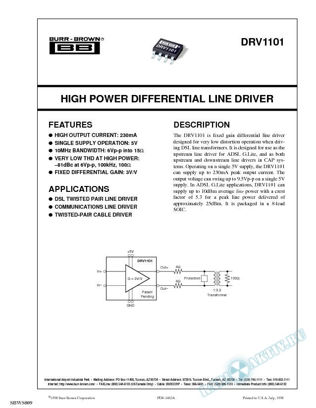 High Power Differential Line Driver