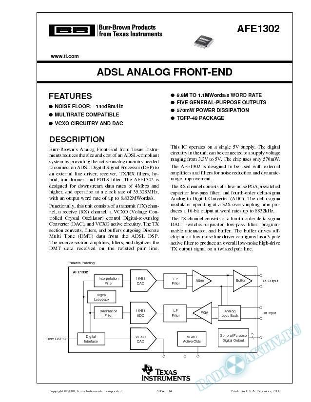 ADSL Analog Front End
