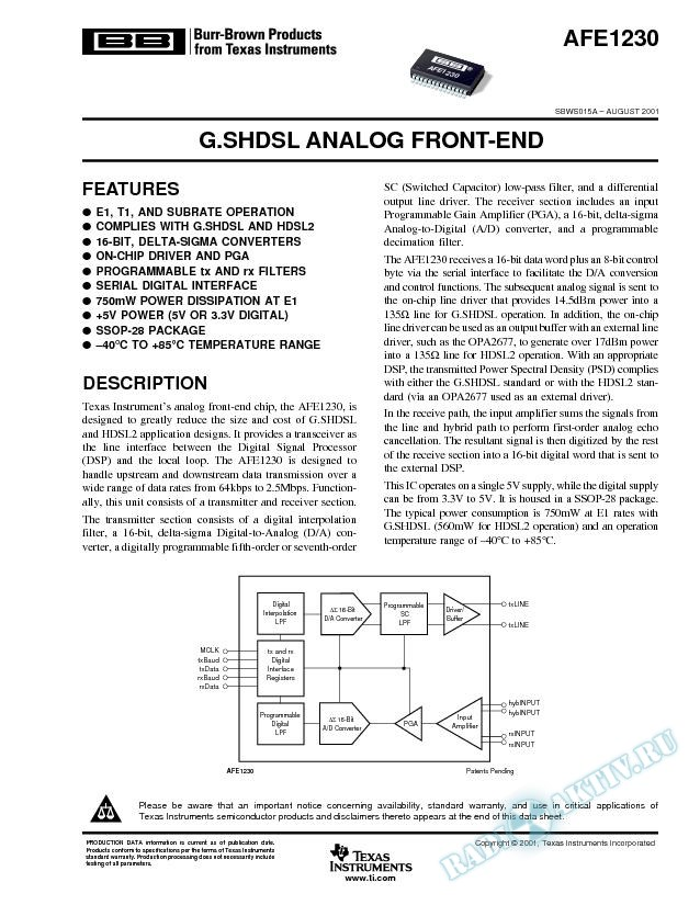 AFE1230: G.SHDSL Analog Front-End (Rev. A)