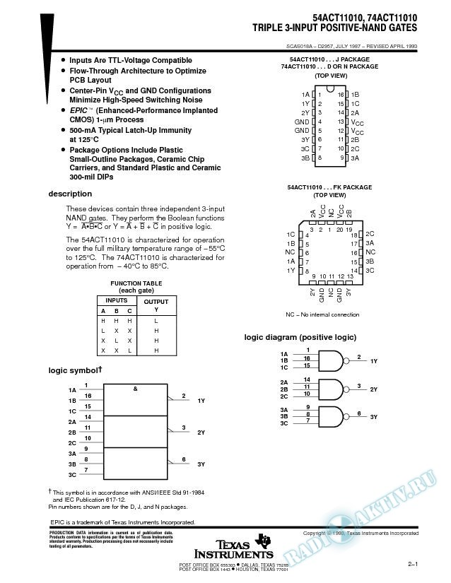 Triple 3-Input Positive-NAND (Rev. A)