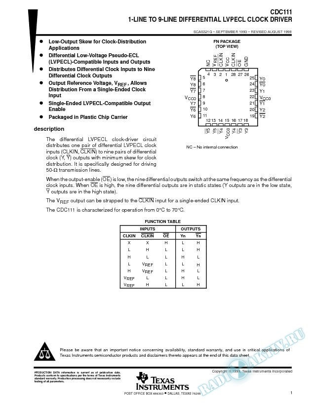 1-Line To 9-Line Differential LVPECL Clock Driver (Rev. G)