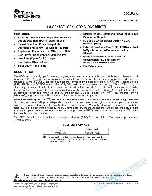 1.8-V Phase Lock Loop Clock Driver (Rev. A)