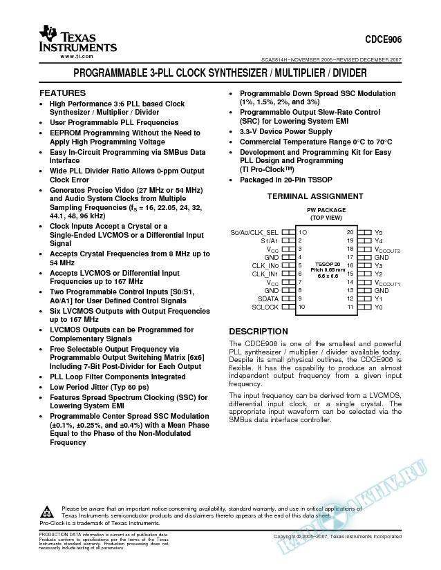 Programmable 3-PLL Clock Synthesizer / Multiplier / Divider (Rev. H)