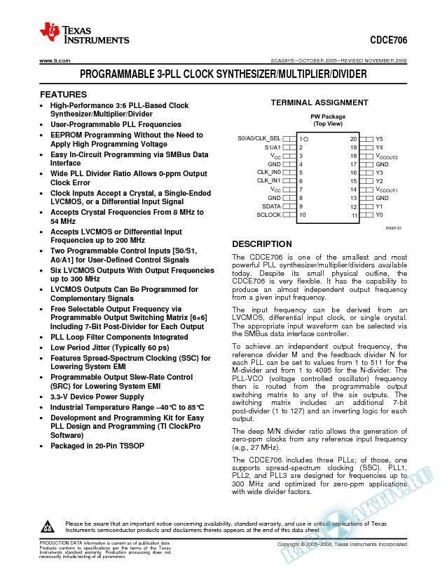 Programmable 3-PLL Clock Synthesizer / Multiplier / Divider (Rev. I)