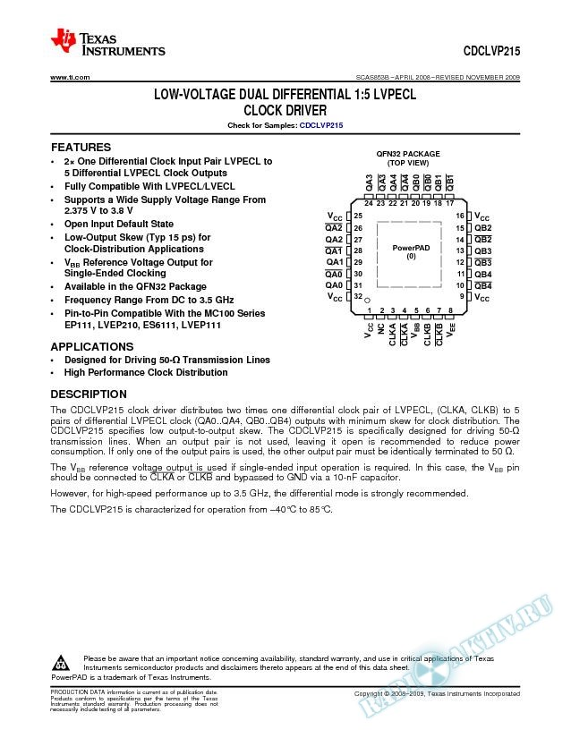 Low-Voltage  Dual Differential 1:5 LVPECL Clock Driver (Rev. B)