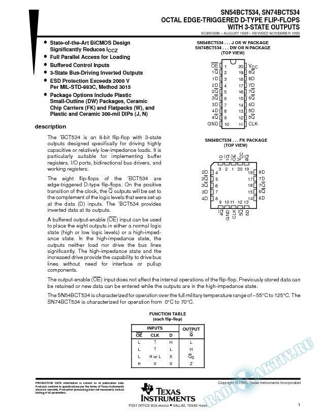 Octal Edge-Triggered D-Type Flip-Flops (Rev. B)