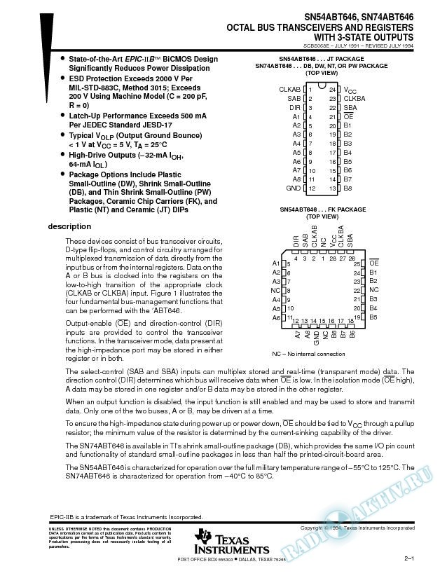Octal Bus Transceivers And Registers With 3-State Outputs (Rev. E)