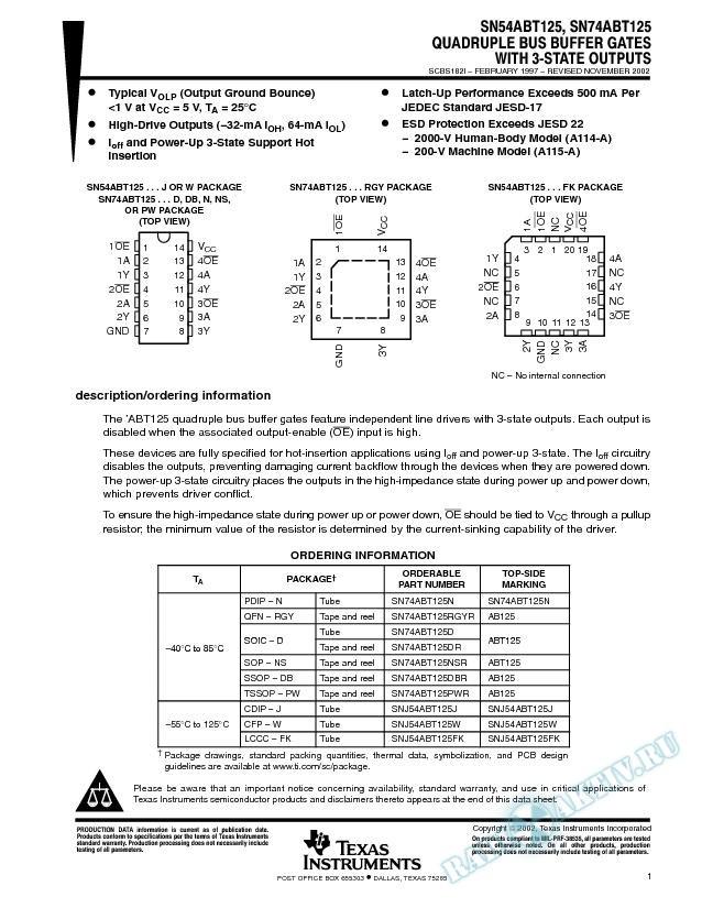 SN54ABT125, SN74ABT125 (Rev. I)