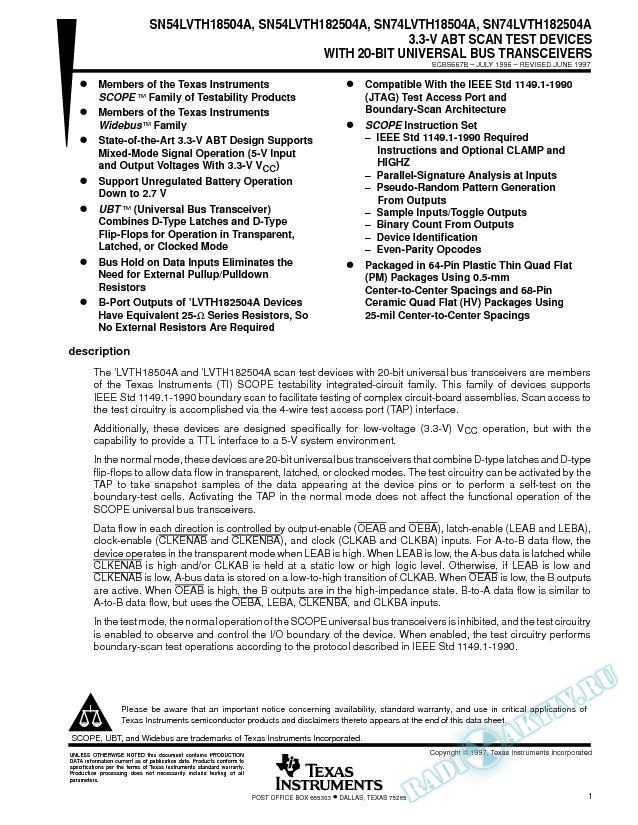 3.3-V ABT Scan Test Devices With 20-Bit Universal Bus Transceivers (Rev. B)