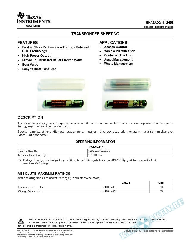 Silicon Sheeting for 32-mm Glass Transponder