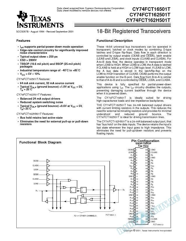 18-Bit Registered Transceivers (Rev. B)