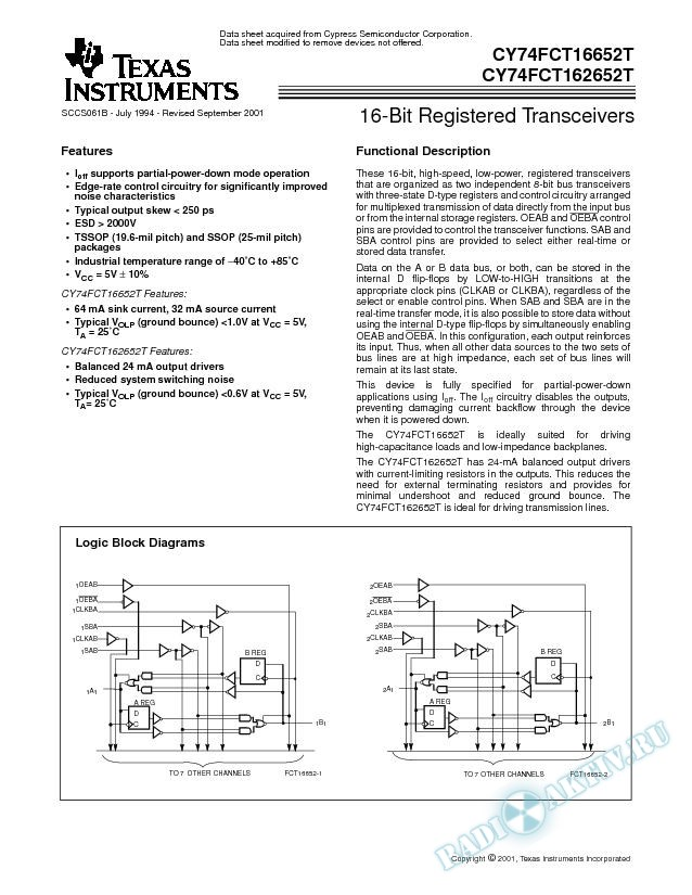 16-Bit Registered Transceivers (Rev. B)