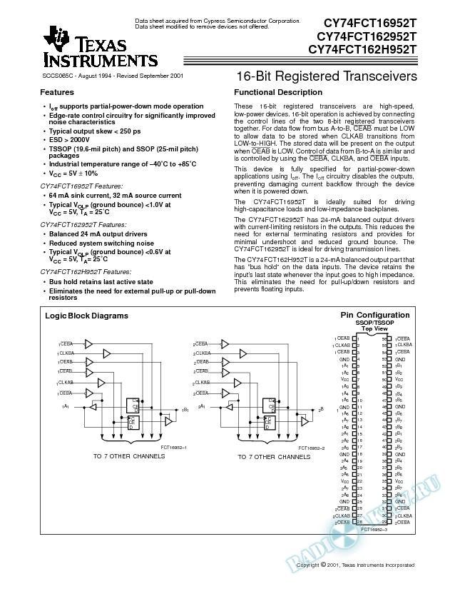 16-Bit Registered Transceivers (Rev. C)