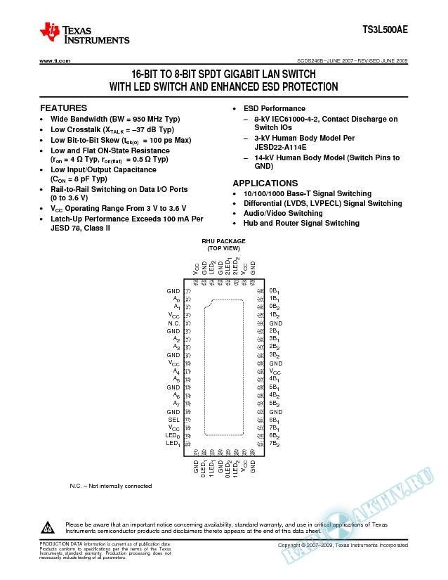 16-Bit to 8-Bit SPDT Gigabit LAN Switch w LED Switch and Enhanced ESD Protection (Rev. B)