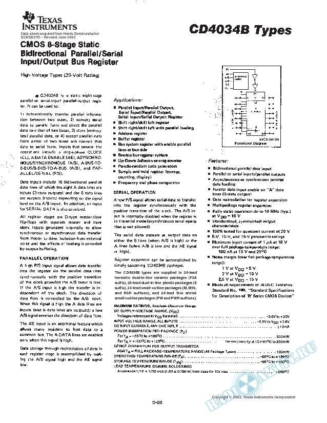 CD4034B TYPES (Rev. B)
