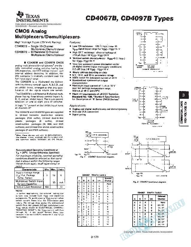 CD4067B, CD4097B TYPES (Rev. B)