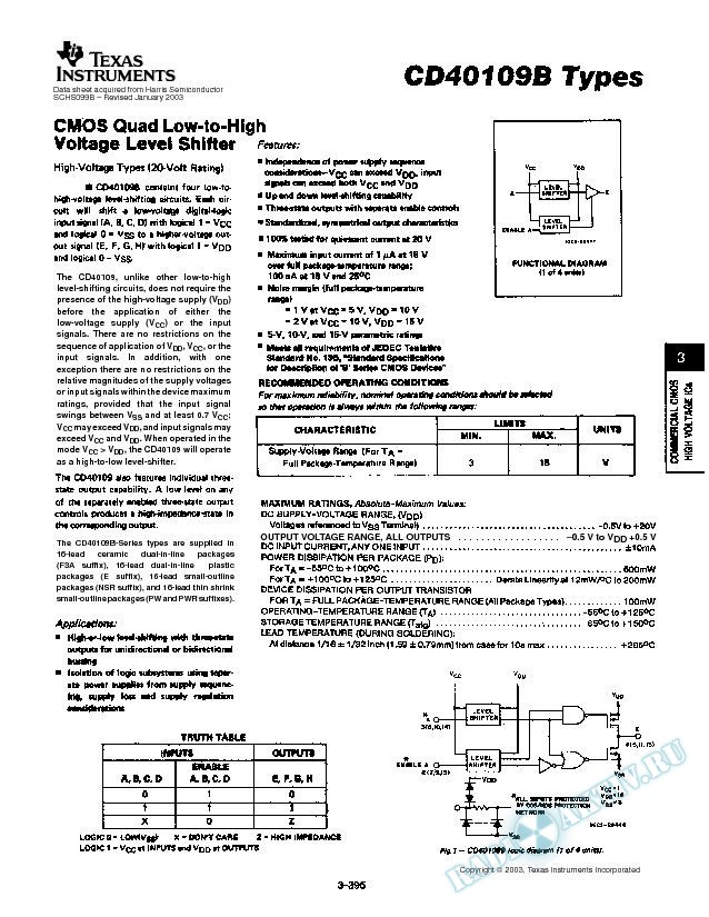 CD40109B TYPES (Rev. B)