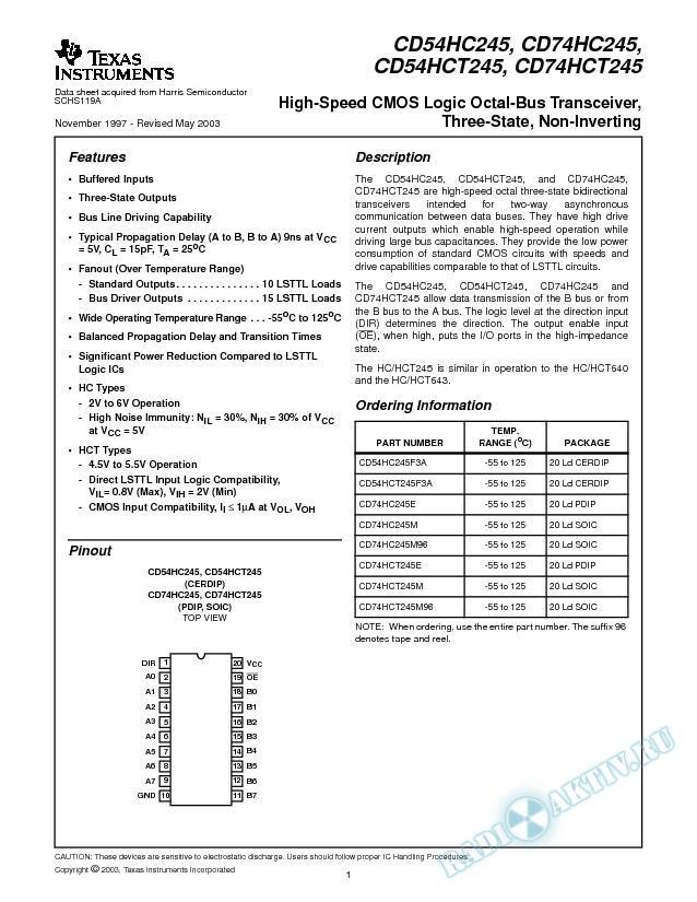 CD54HC245, CD74HC245, CD54HCT245, CD74HCT245 (Rev. A)