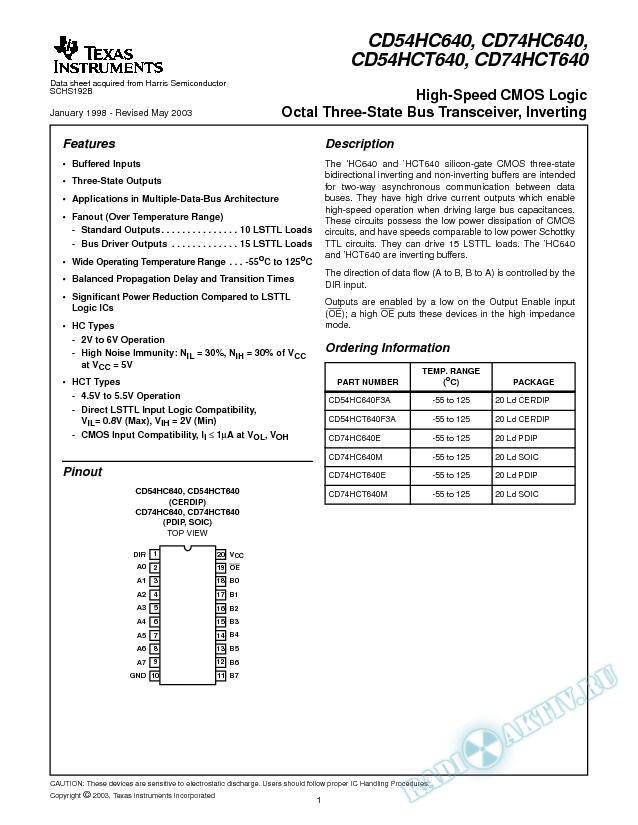 CD54HC640, CD74HC640, CD54HCT640, CD74HCT640 (Rev. B)