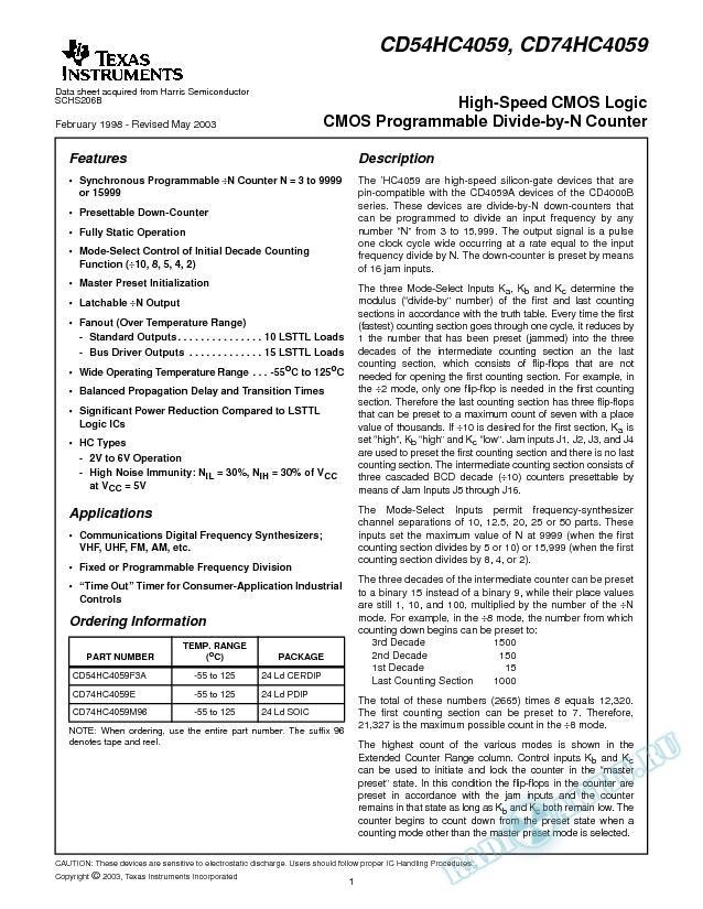 CD54HC4059, CD74HC4059 (Rev. B)