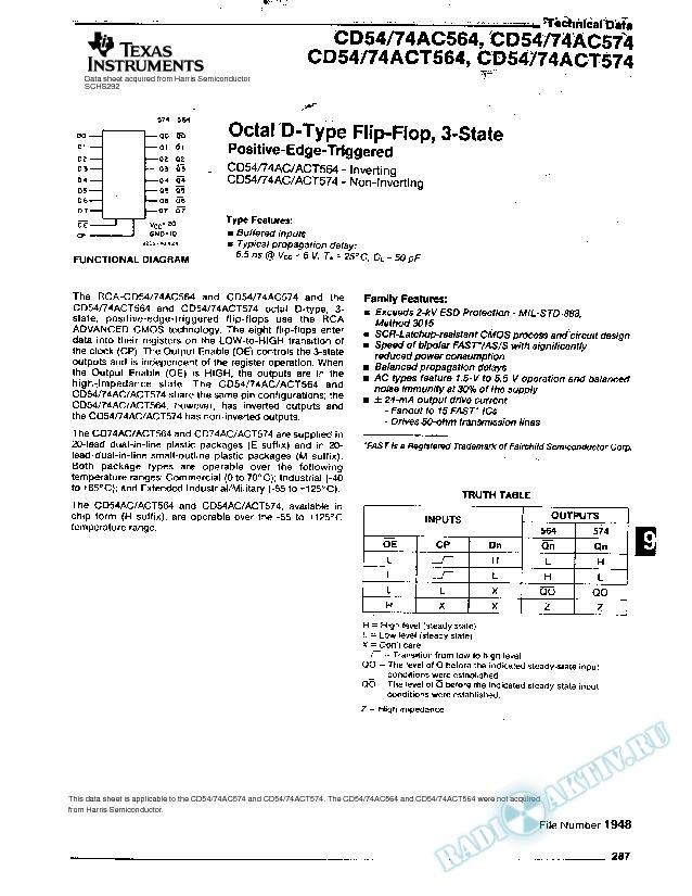 Octal D-Type Flip-Flop, 3-State