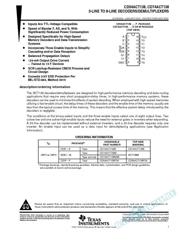 CD54ACT138, CD74ACT138 (Rev. A)