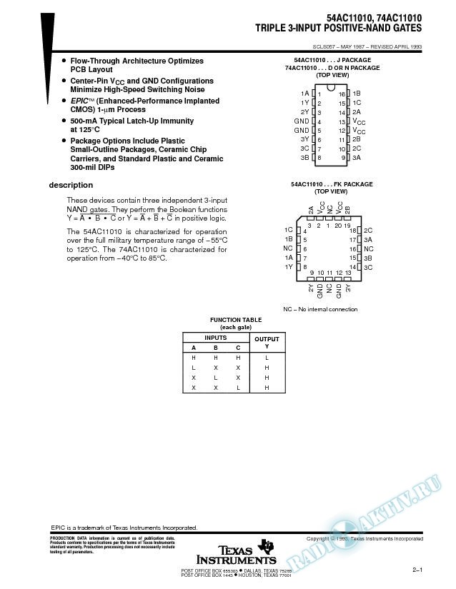 Triple 3-Input Positive-NAND Gates