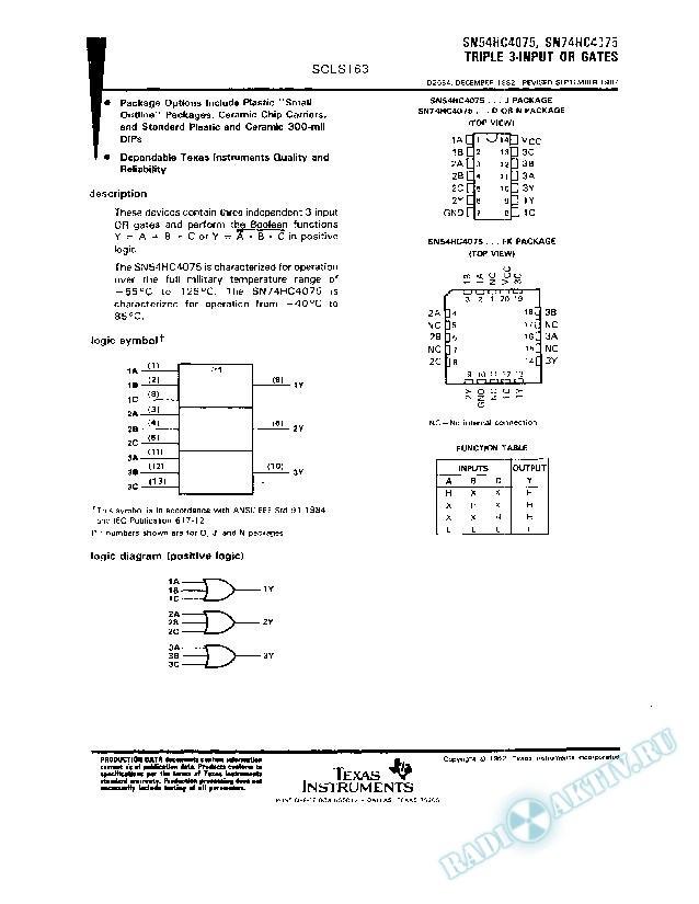 Triple 3-Input OR Gates