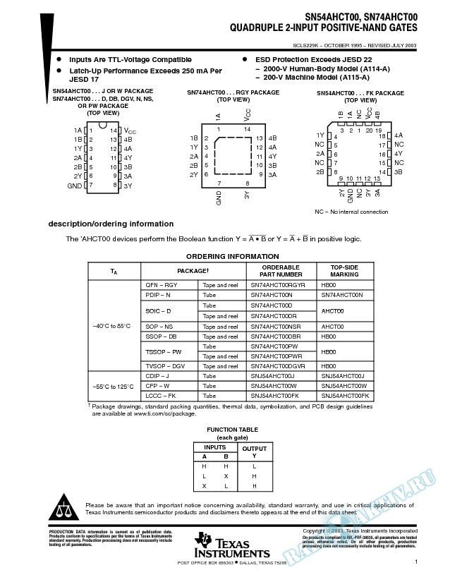 SN54AHCT00, SN74AHCT00 (Rev. K)