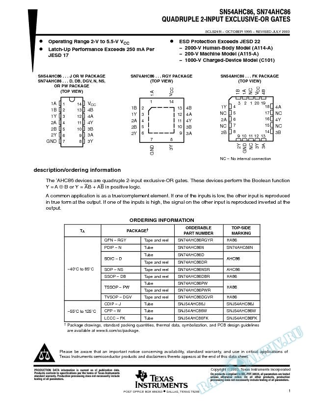 SN54AHC86, SN74AHC86 (Rev. I)