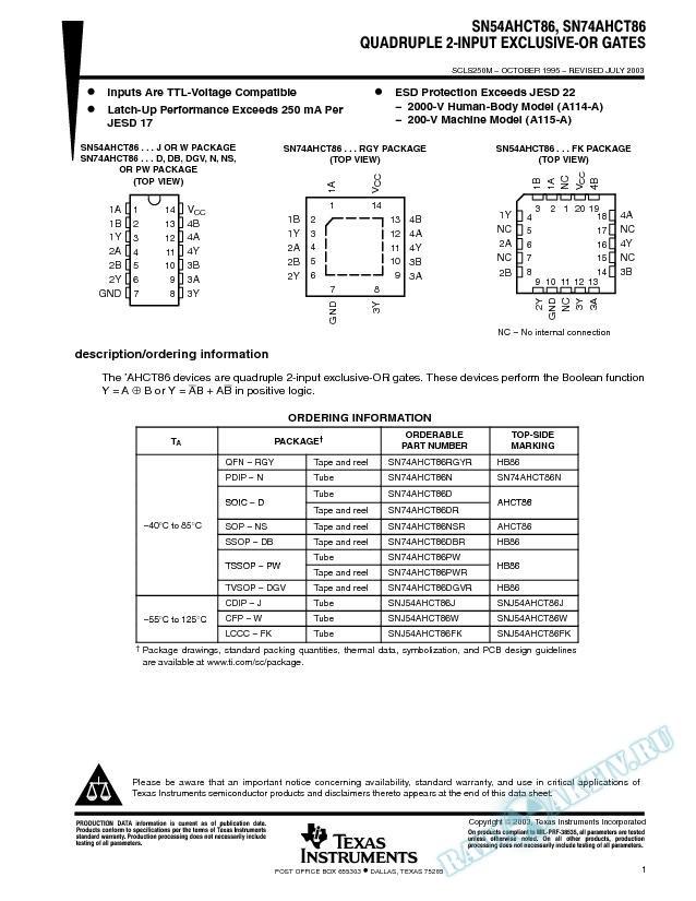 SN54AHCT86, SN74AHCT86 (Rev. M)