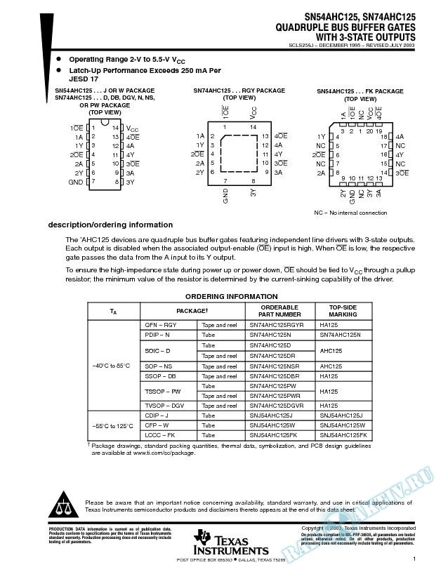 SN54AHC125, SN74AHC125 (Rev. J)