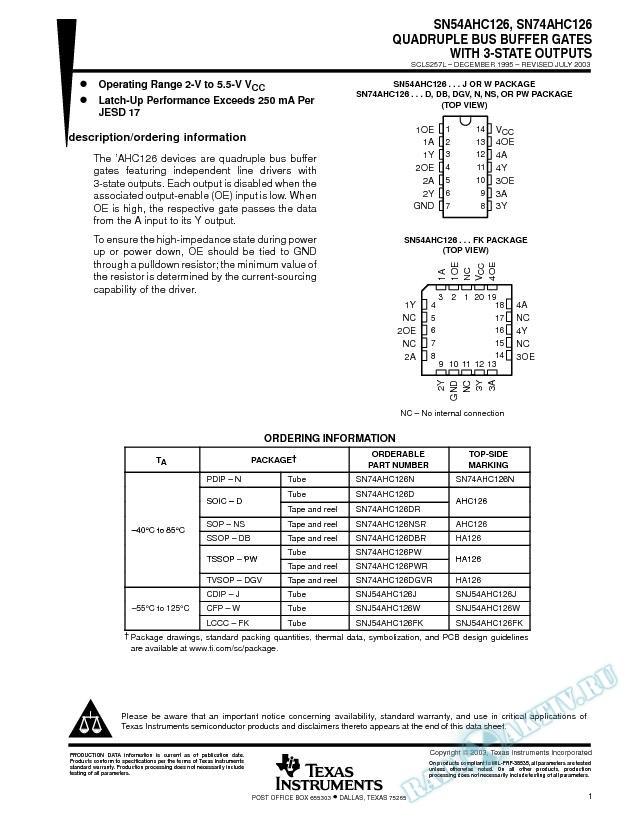 SN54AHC126, SN74AHC126 (Rev. L)