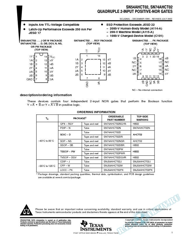 SN54AHCT02, SN74AHCT02 (Rev. L)