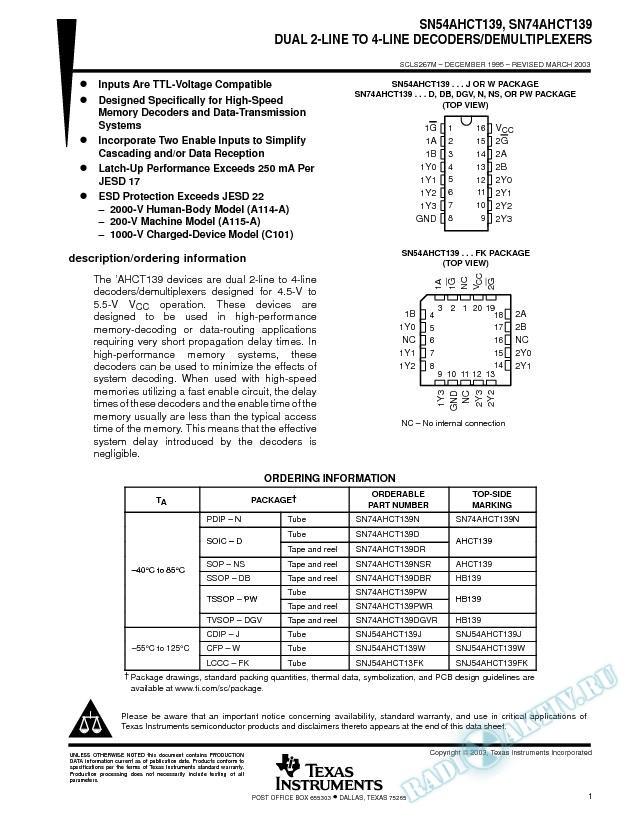 SN54AHCT139, SN74AHCT139 (Rev. M)