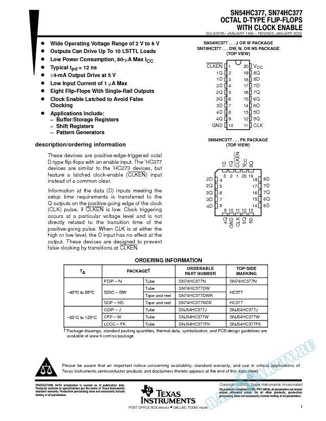 SN54HC377, SN74HC377 (Rev. B)