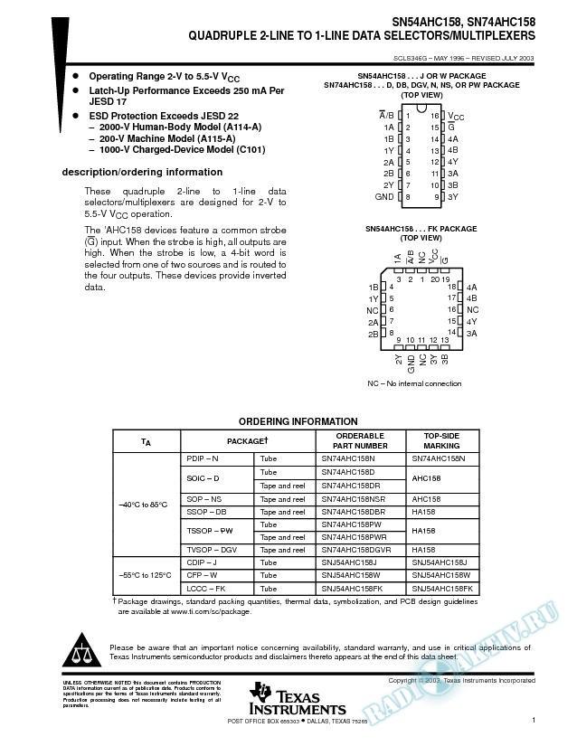 SN54AHC158, SN74AHC158 (Rev. G)