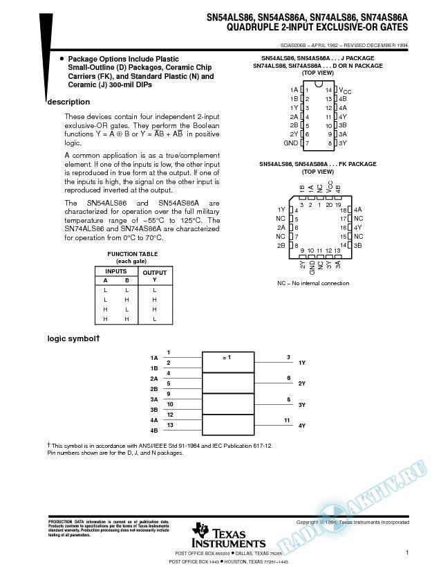Quadruple 2-Input Exclusive-OR Gates (Rev. B)