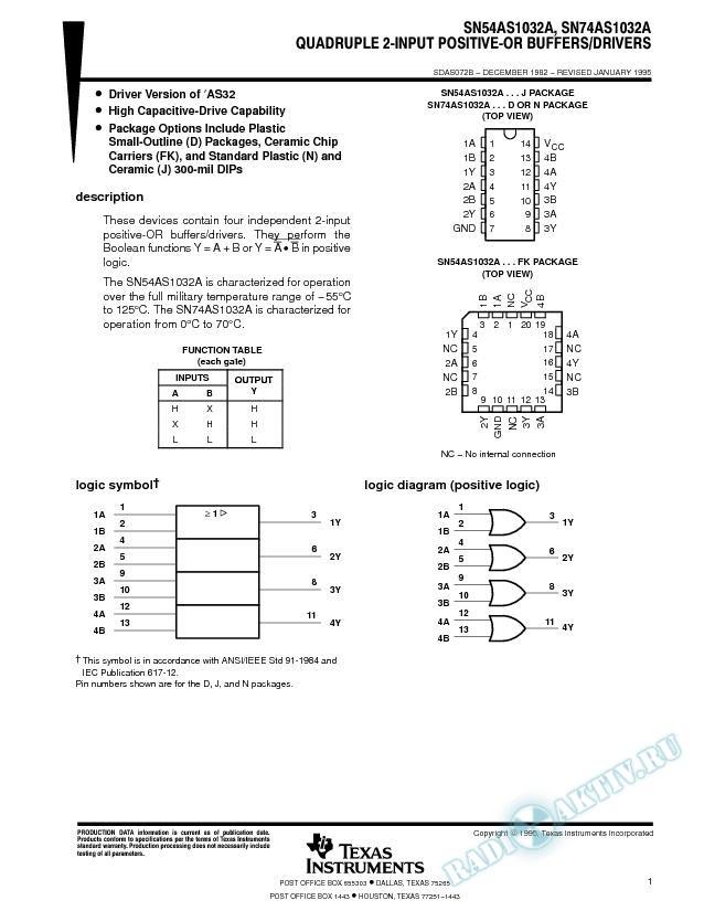 Quadruple 2-Input Positive-OR Buffers/Drivers (Rev. B)