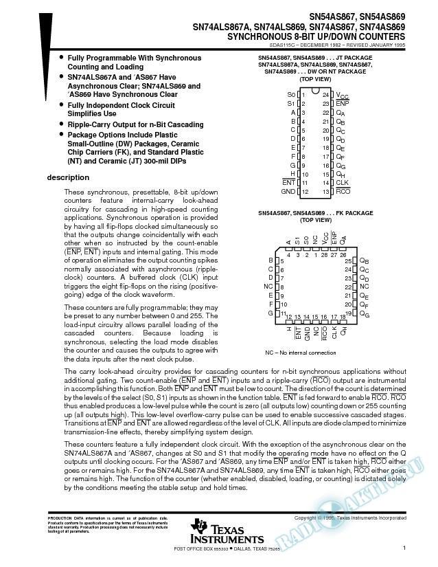 Synchronous 8-Bit Up/Down Counters (Rev. C)