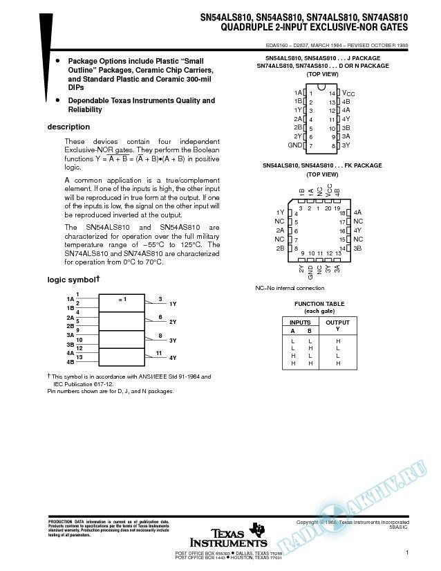 Quadruple 2-Input Exclusive-NOR Gates