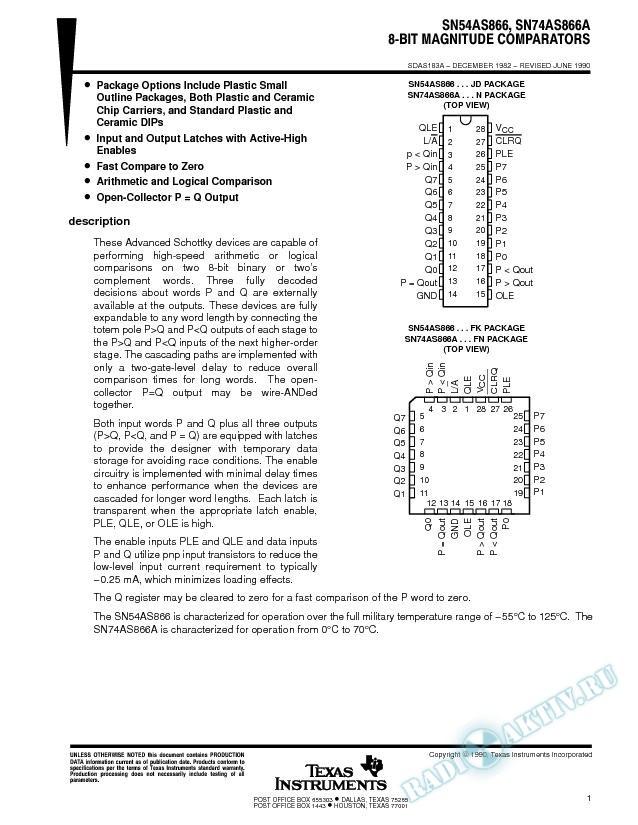 8-Bit Magnitude Comparators (Rev. A)