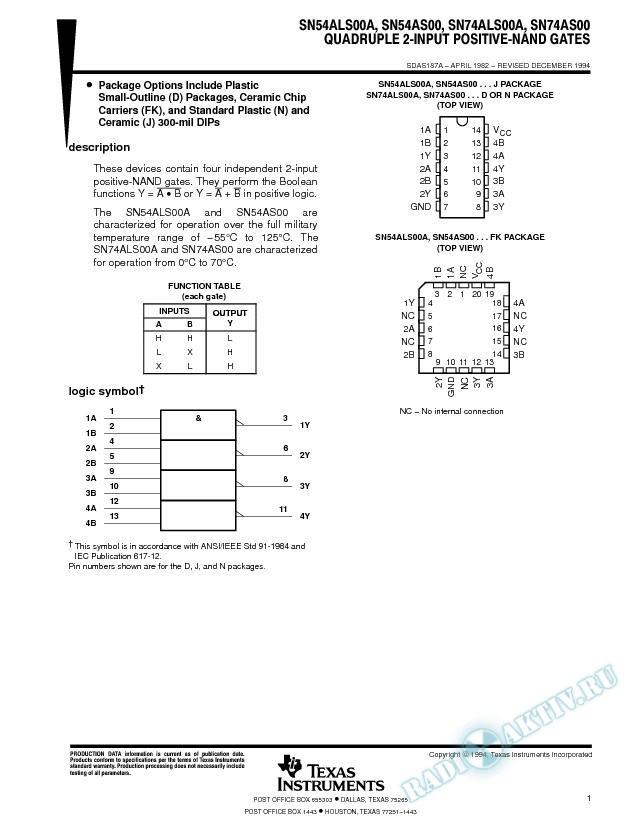 Quadruple 2-Input Positive-NAND Gates (Rev. A)
