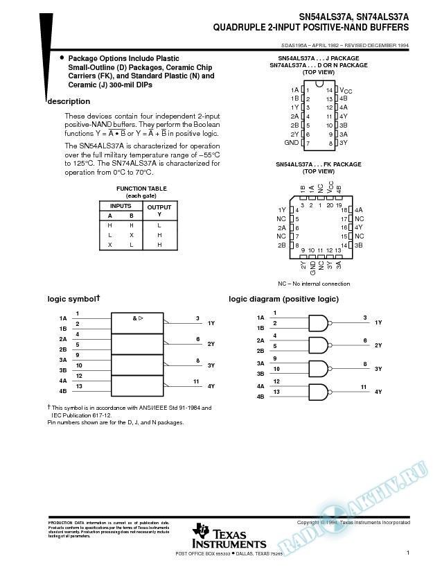 Quadruple 2-Input Positive-NAND Buffers (Rev. A)