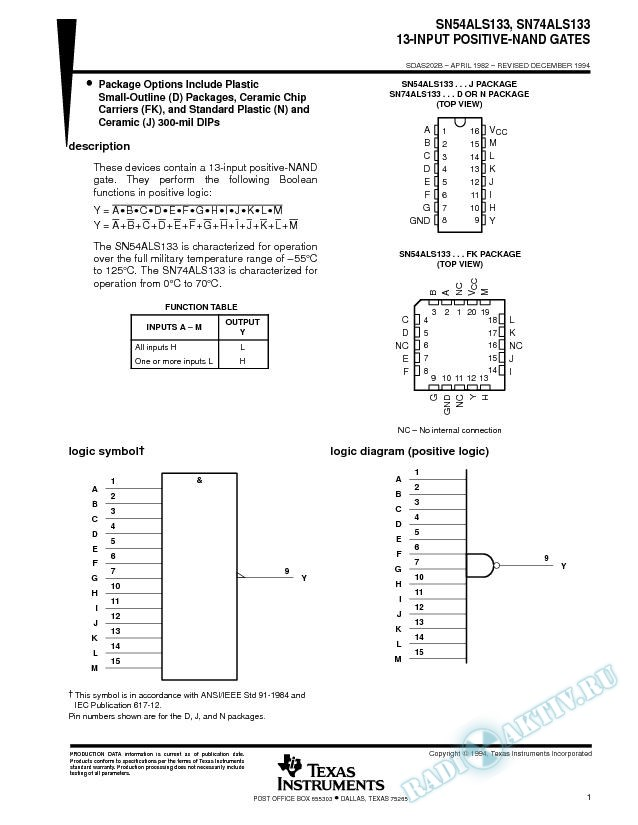 13-Input Positive-NAND Gates (Rev. B)