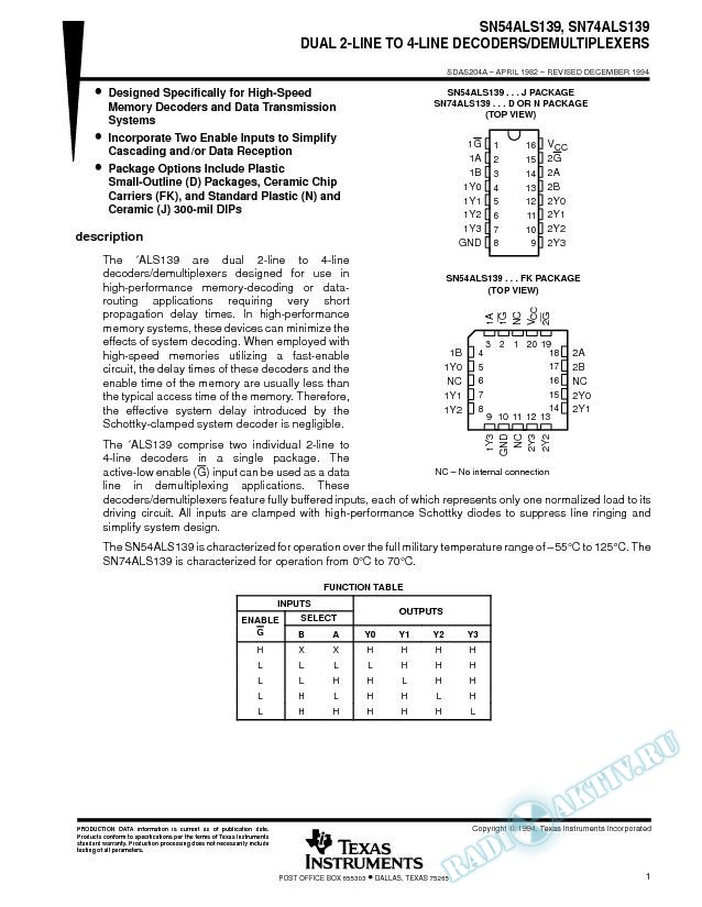 Dual 2-Line To 4-Line Decoders/Demultiplexers (Rev. A)