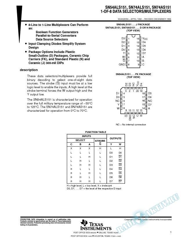 1-of-8 Data Selectors/Multiplexers (Rev. A)