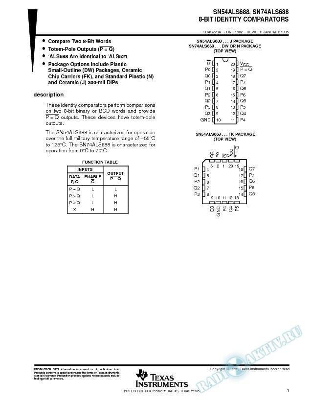 8-Bit Identity Comparators (Rev. A)