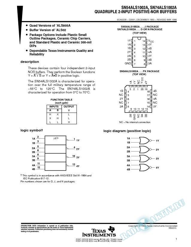 Quadruple 2-Input Positive-NOR Buffers
