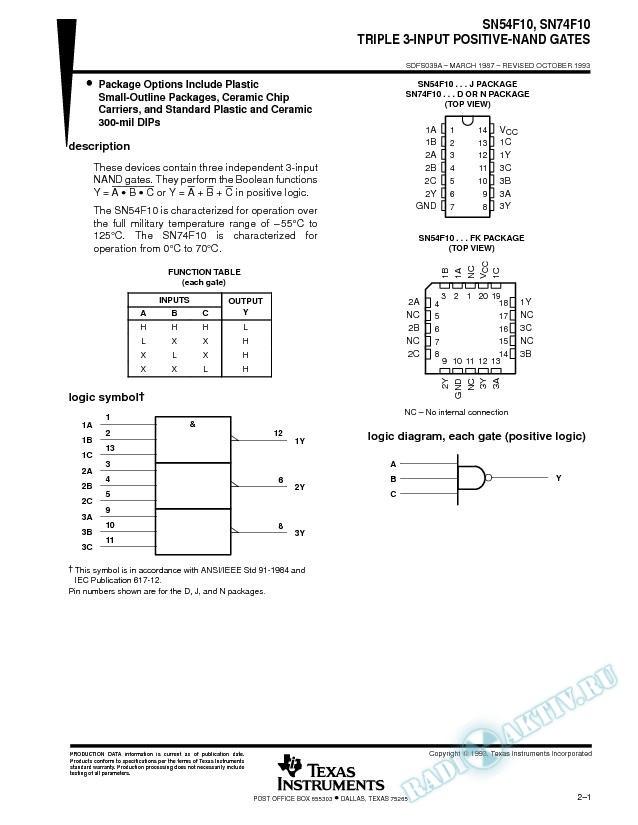 Triple 3-Input Positive-NAND Gates (Rev. A)